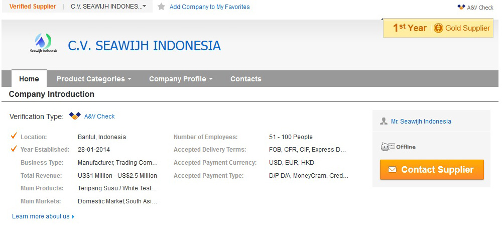Seawijh Indonesia is a Gold Suplier & Verified Seller on Alibaba